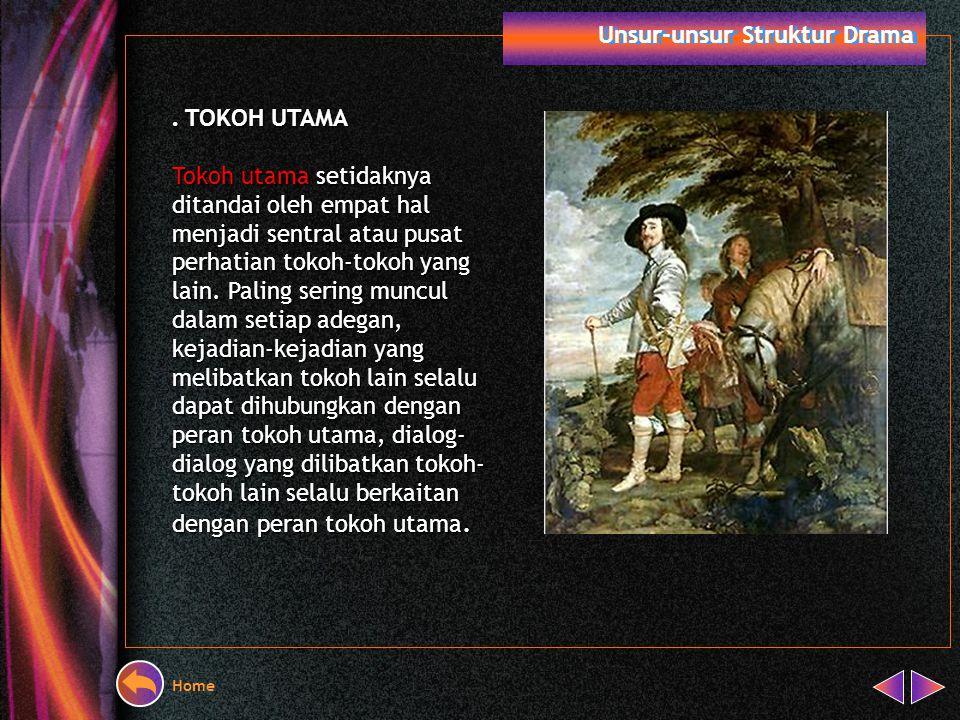 Home Unsur-unsur Struktur Drama A. Menentukan Tokoh dan Peran Tokoh Berdasarkan perannya tokoh drama terdiri atas: Tokoh Utama Tokoh Pembantu