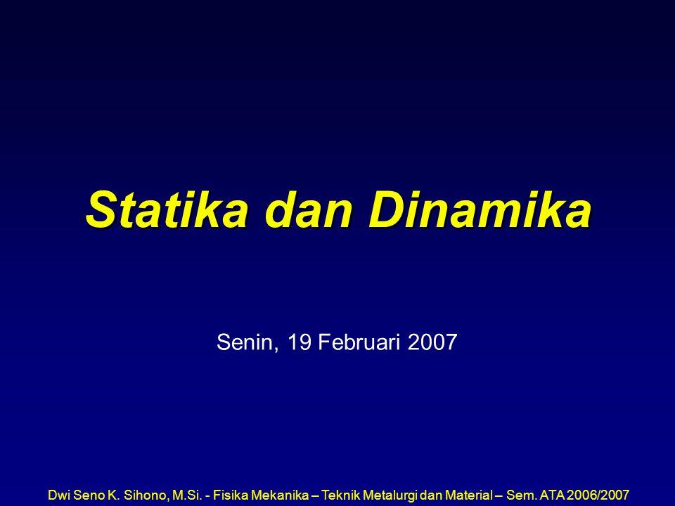 Dwi Seno K. Sihono, M.Si. - Fisika Mekanika – Teknik Metalurgi dan Material – Sem. ATA 2006/2007 Statika dan Dinamika Senin, 19 Februari 2007
