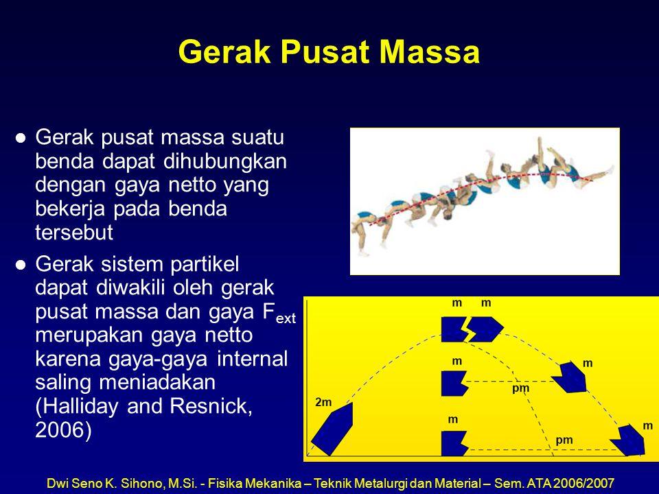 Dwi Seno K. Sihono, M.Si. - Fisika Mekanika – Teknik Metalurgi dan Material – Sem. ATA 2006/2007 Gerak Pusat Massa l Gerak pusat massa suatu benda dap