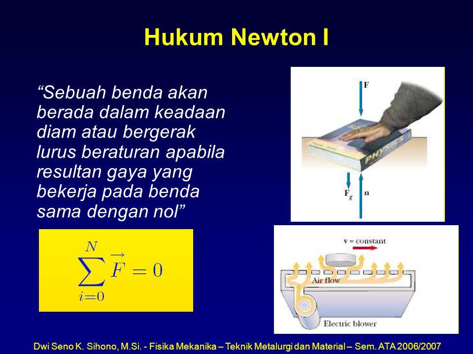 "Dwi Seno K. Sihono, M.Si. - Fisika Mekanika – Teknik Metalurgi dan Material – Sem. ATA 2006/2007 Hukum Newton I ""Sebuah benda akan berada dalam keadaa"