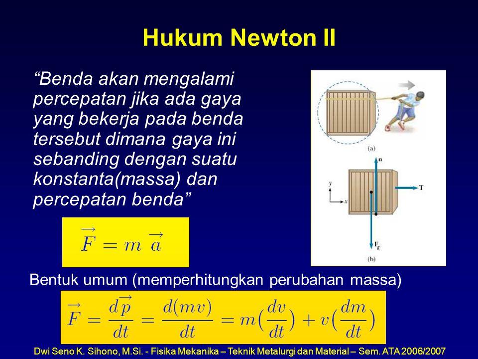 """Dwi Seno K. Sihono, M.Si. - Fisika Mekanika – Teknik Metalurgi dan Material – Sem. ATA 2006/2007 Hukum Newton II """"Benda akan mengalami percepatan jika"""