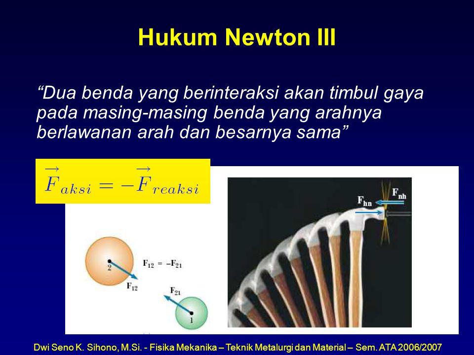 """Dwi Seno K. Sihono, M.Si. - Fisika Mekanika – Teknik Metalurgi dan Material – Sem. ATA 2006/2007 Hukum Newton III """"Dua benda yang berinteraksi akan ti"""