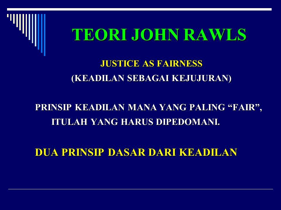 """TEORI JOHN RAWLS JUSTICE AS FAIRNESS (KEADILAN SEBAGAI KEJUJURAN) PRINSIP KEADILAN MANA YANG PALING """"FAIR"""", ITULAH YANG HARUS DIPEDOMANI. DUA PRINSIP"""