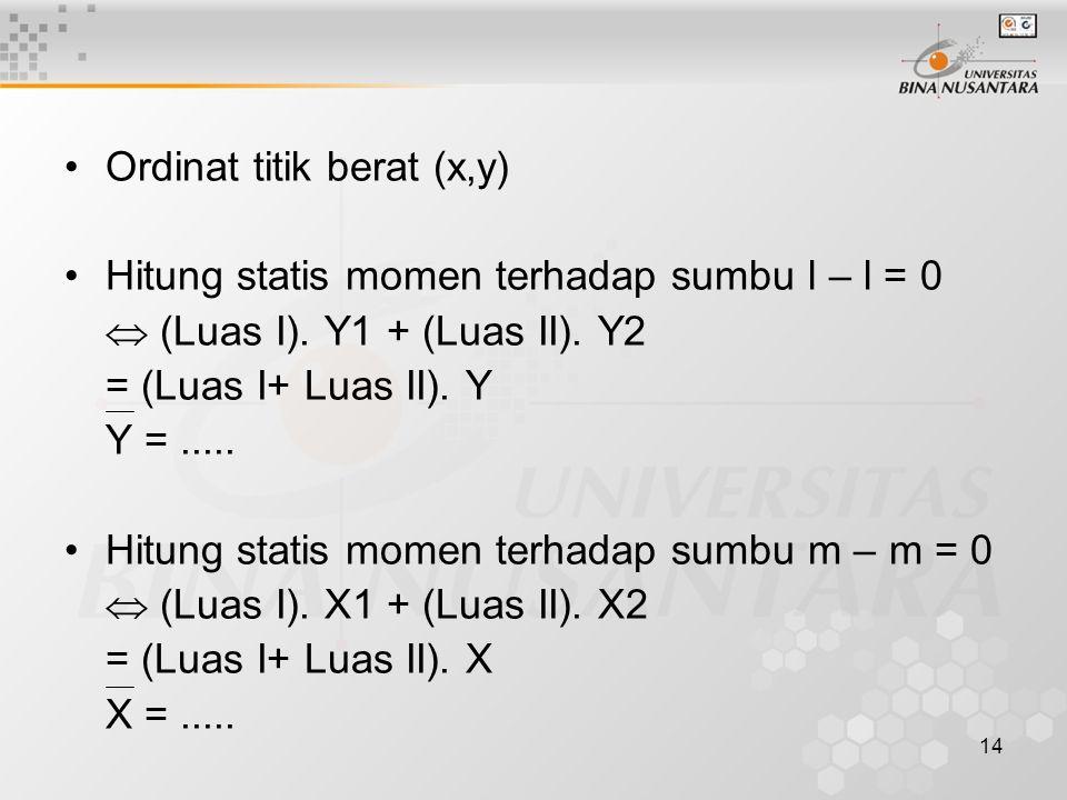 14 Ordinat titik berat (x,y) Hitung statis momen terhadap sumbu l – l = 0  (Luas I). Y1 + (Luas II). Y2 = (Luas I+ Luas II). Y Y =..... Hitung statis