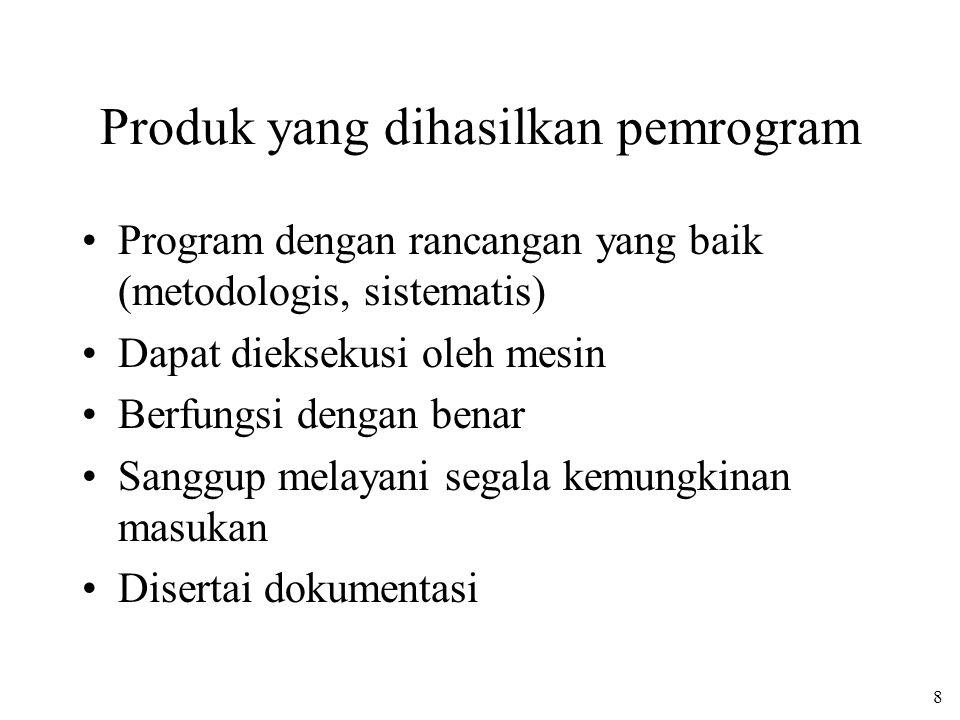 8 Produk yang dihasilkan pemrogram Program dengan rancangan yang baik (metodologis, sistematis) Dapat dieksekusi oleh mesin Berfungsi dengan benar San