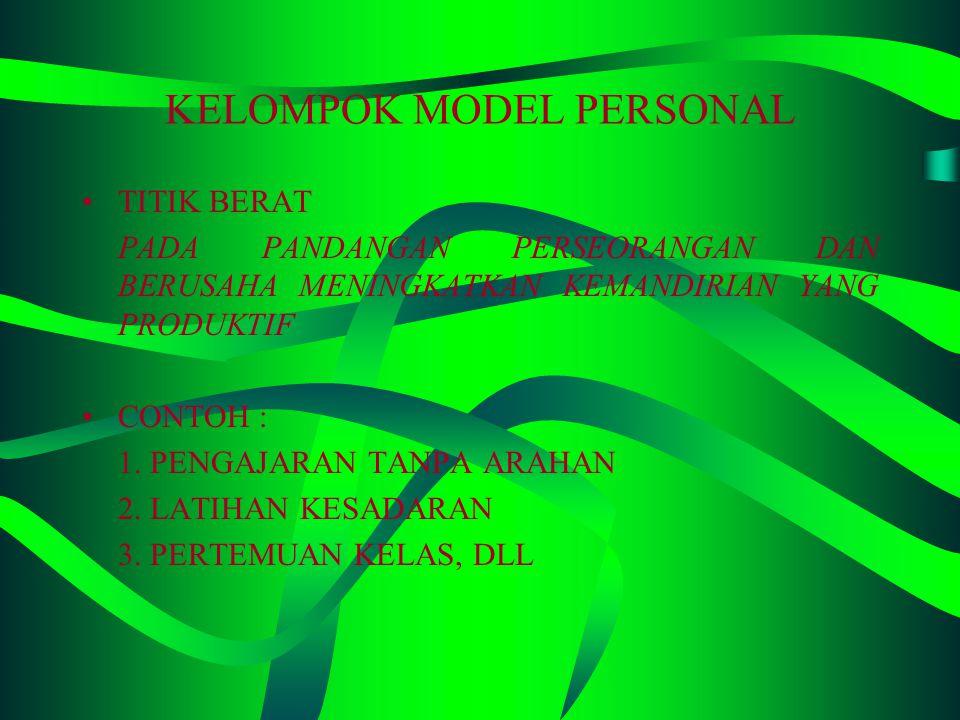 KELOMPOK MODEL PENGOLAHAN INFORMASI TITIK BERAT MEMPERKUAT DORONGAN INTERNAL. CONTOH : 1. PENCAPAIAN KONSEP 2. BERPIKIR INDUKTIF 3. LATIHAN PENELITIAN