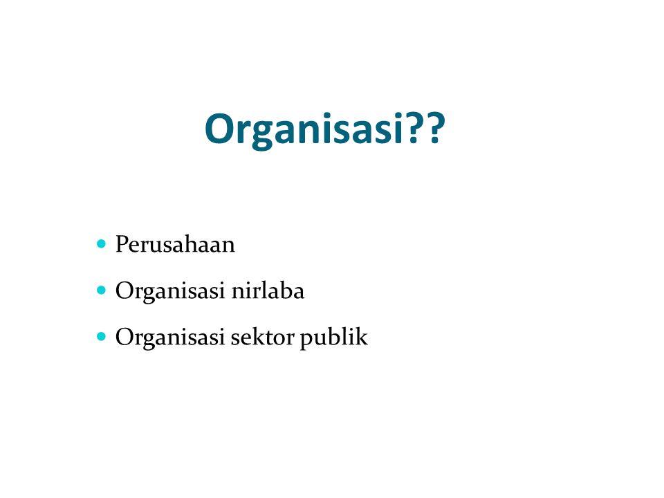 Organisasi?? Perusahaan Organisasi nirlaba Organisasi sektor publik