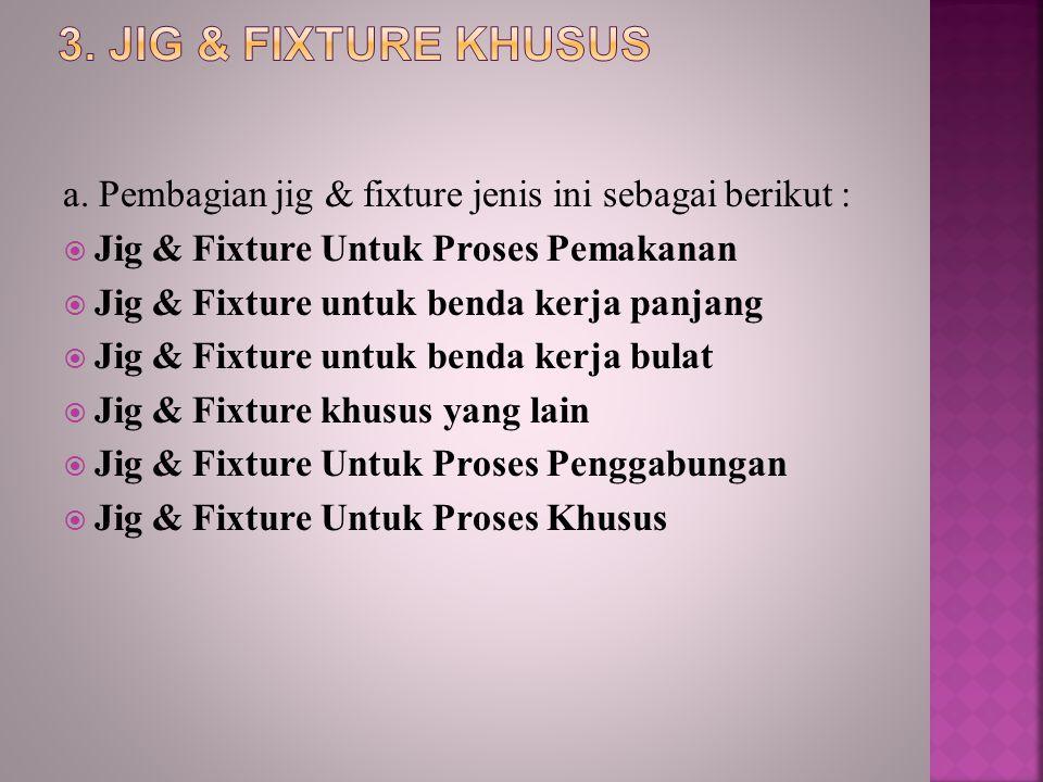 a. Pembagian jig & fixture jenis ini sebagai berikut :  Jig & Fixture Untuk Proses Pemakanan  Jig & Fixture untuk benda kerja panjang  Jig & Fixtur