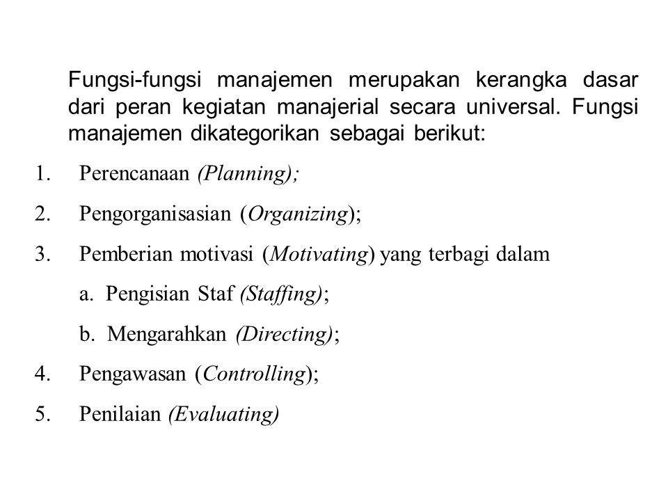 Fungsi-fungsi manajemen merupakan kerangka dasar dari peran kegiatan manajerial secara universal. Fungsi manajemen dikategorikan sebagai berikut: 1. P