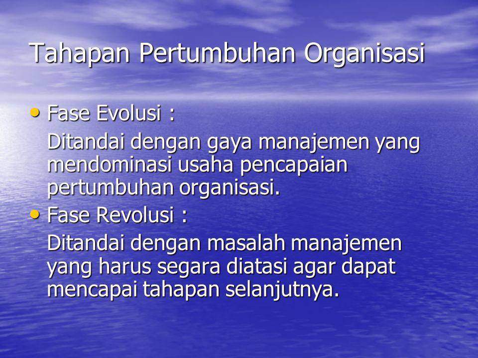 Tahapan Pertumbuhan Organisasi Fase Evolusi : Fase Evolusi : Ditandai dengan gaya manajemen yang mendominasi usaha pencapaian pertumbuhan organisasi.