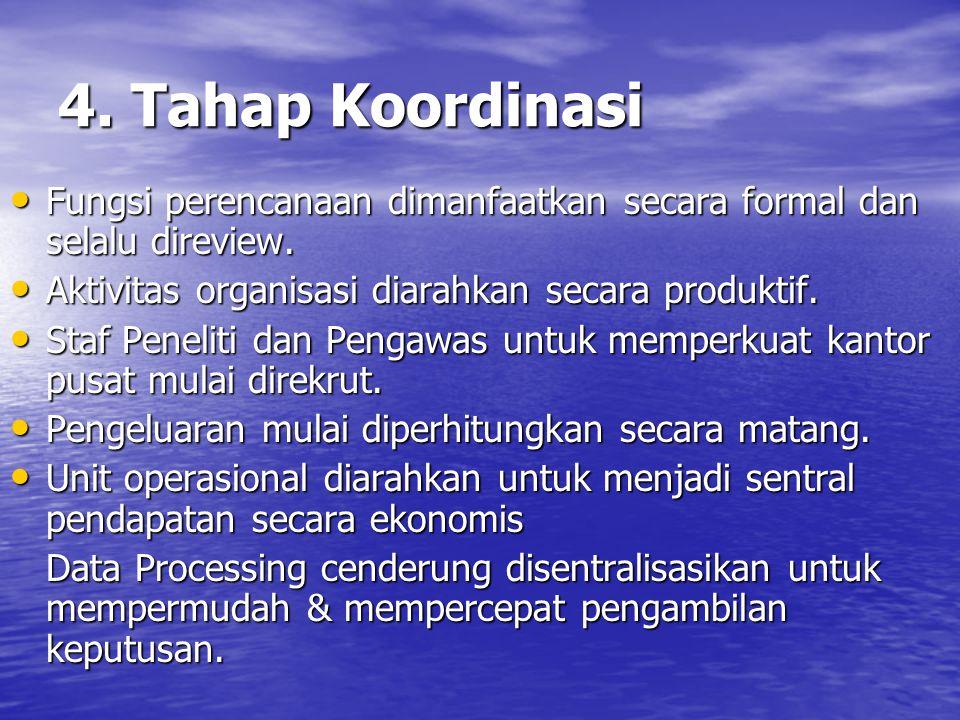 4. Tahap Koordinasi Fungsi perencanaan dimanfaatkan secara formal dan selalu direview. Fungsi perencanaan dimanfaatkan secara formal dan selalu direvi