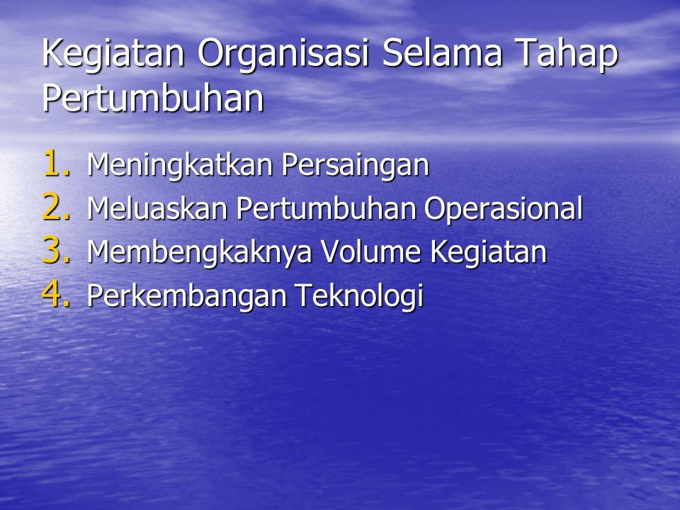 Kegiatan Organisasi Selama Tahap Pertumbuhan 1. Meningkatkan Persaingan 2. Meluaskan Pertumbuhan Operasional 3. Membengkaknya Volume Kegiatan 4. Perke