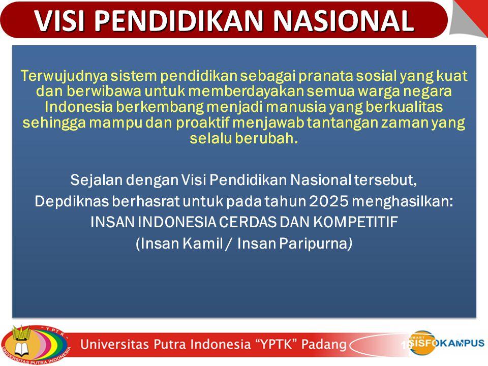 VISI PENDIDIKAN NASIONAL 10 Terwujudnya sistem pendidikan sebagai pranata sosial yang kuat dan berwibawa untuk memberdayakan semua warga negara Indone