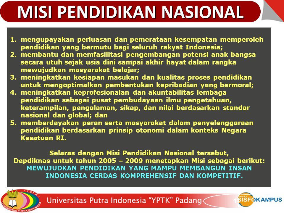 11 1.mengupayakan perluasan dan pemerataan kesempatan memperoleh pendidikan yang bermutu bagi seluruh rakyat Indonesia; 2.membantu dan memfasilitasi p