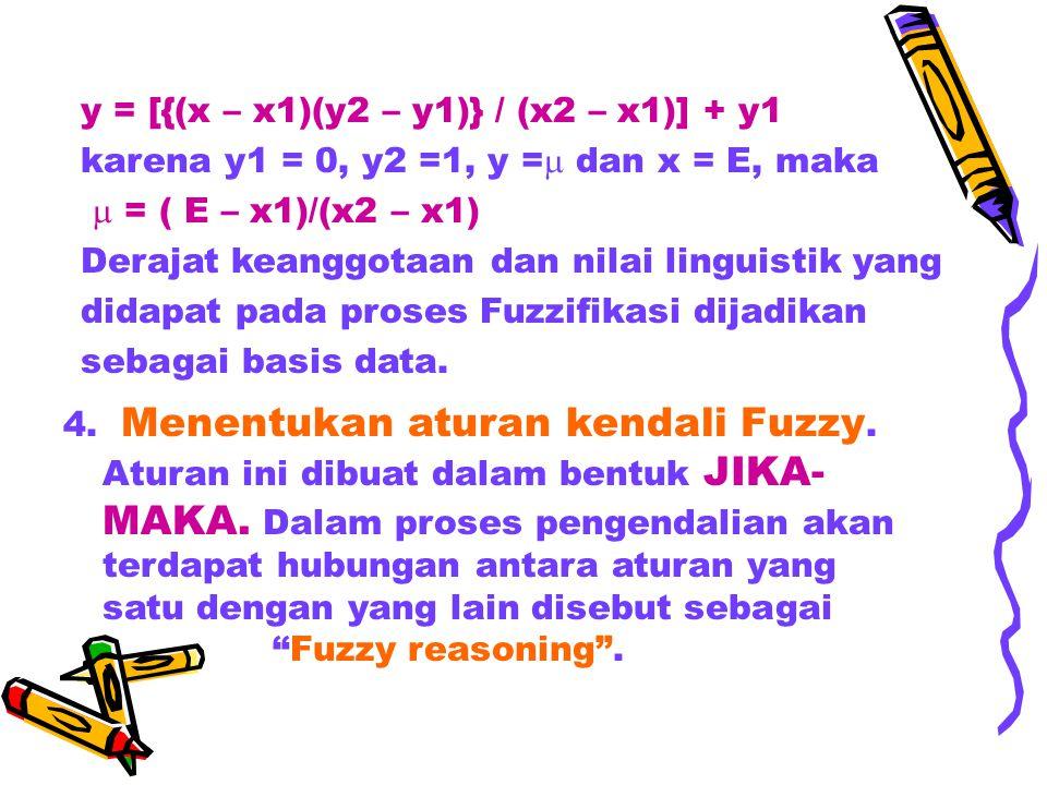 y = [{(x – x1)(y2 – y1)} / (x2 – x1)] + y1 karena y1 = 0, y2 =1, y =  dan x = E, maka  = ( E – x1)/(x2 – x1) Derajat keanggotaan dan nilai linguisti