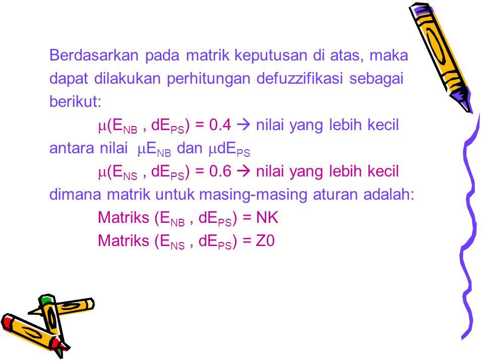 Berdasarkan pada matrik keputusan di atas, maka dapat dilakukan perhitungan defuzzifikasi sebagai berikut:  (E NB, dE PS ) = 0.4  nilai yang lebih k
