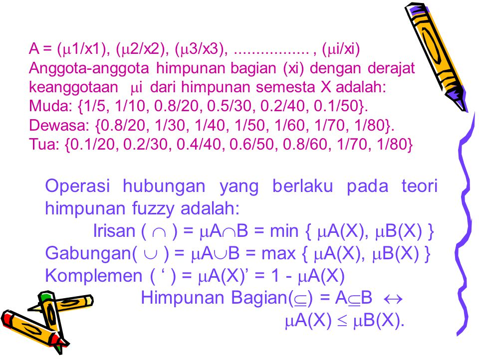 Operasi hubungan yang berlaku pada teori himpunan fuzzy adalah: Irisan(  ) =  A  B = min {  A(X),  B(X) } Gabungan(  ) =  A  B = max {  A(X),