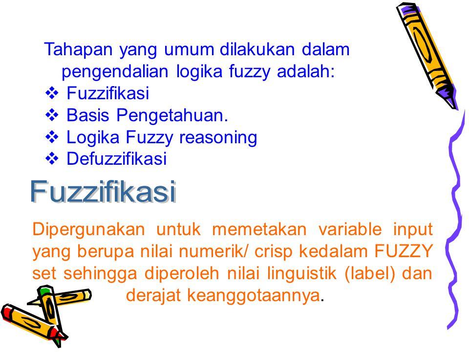 Tahapan yang umum dilakukan dalam pengendalian logika fuzzy adalah:  Fuzzifikasi  Basis Pengetahuan.  Logika Fuzzy reasoning  Defuzzifikasi Diperg