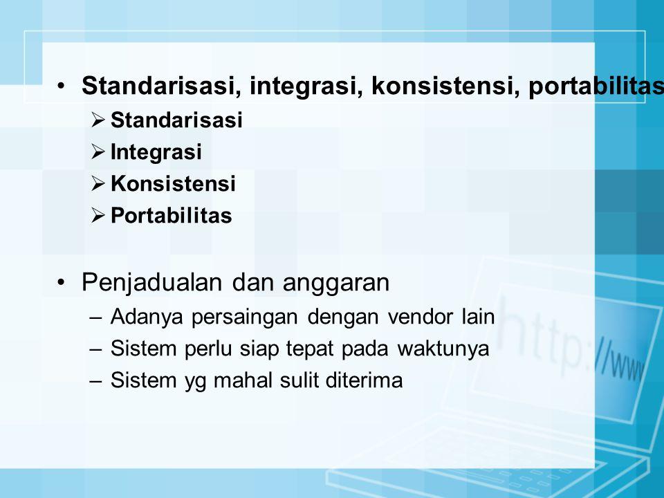 Standarisasi, integrasi, konsistensi, portabilitas  Standarisasi  Integrasi  Konsistensi  Portabilitas Penjadualan dan anggaran –Adanya persaingan