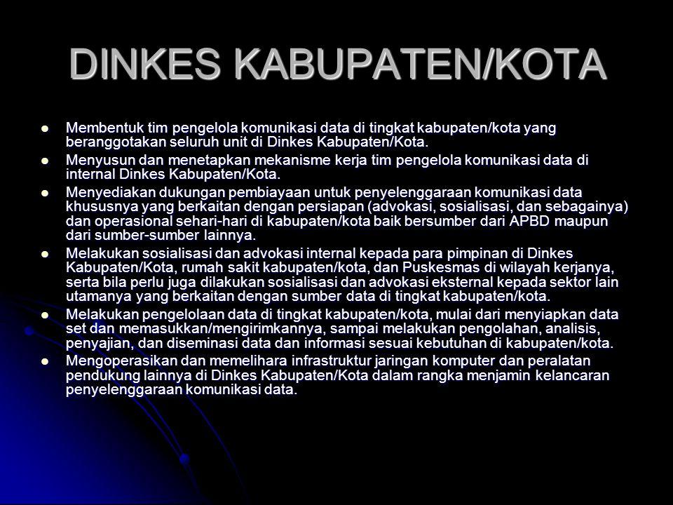 DINKES KABUPATEN/KOTA Membentuk tim pengelola komunikasi data di tingkat kabupaten/kota yang beranggotakan seluruh unit di Dinkes Kabupaten/Kota. Memb