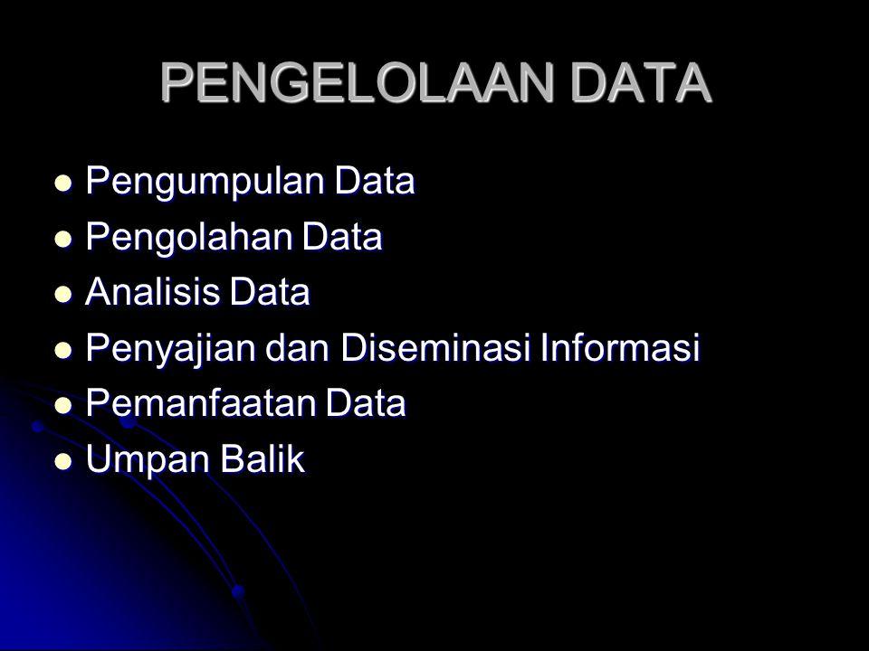 PENGELOLAAN DATA Pengumpulan Data Pengumpulan Data Pengolahan Data Pengolahan Data Analisis Data Analisis Data Penyajian dan Diseminasi Informasi Peny