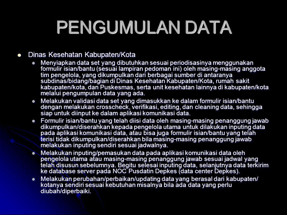 PENGUMULAN DATA Dinas Kesehatan Kabupaten/Kota Dinas Kesehatan Kabupaten/Kota Menyiapkan data set yang dibutuhkan sesuai periodisasinya menggunakan fo