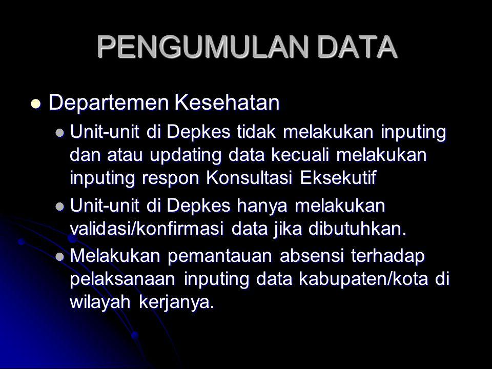 PENGUMULAN DATA Departemen Kesehatan Departemen Kesehatan Unit-unit di Depkes tidak melakukan inputing dan atau updating data kecuali melakukan inputi