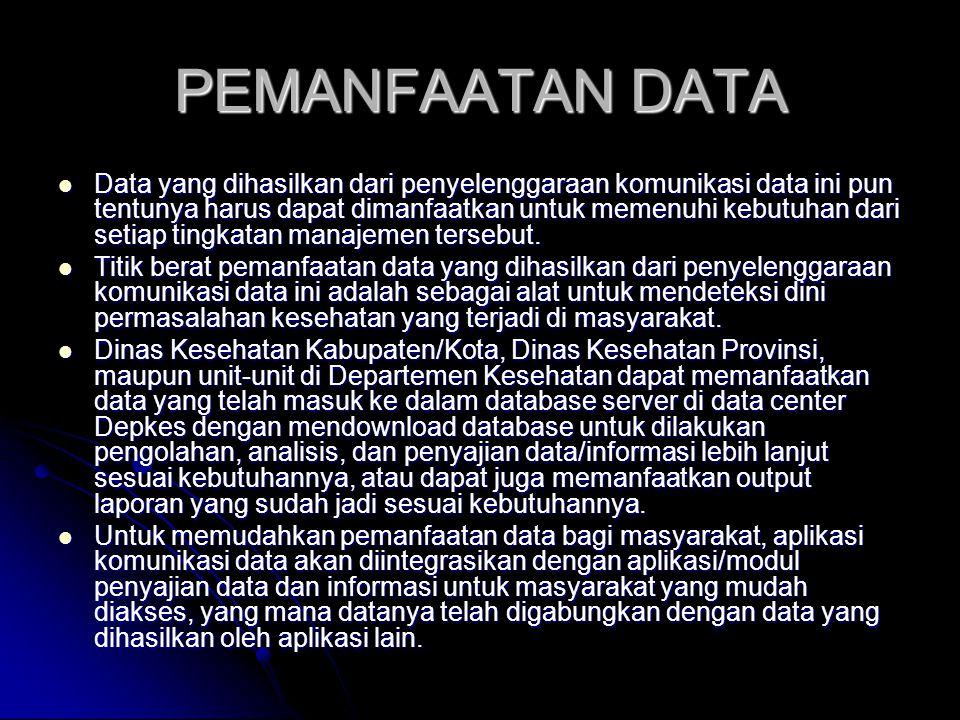 PEMANFAATAN DATA Data yang dihasilkan dari penyelenggaraan komunikasi data ini pun tentunya harus dapat dimanfaatkan untuk memenuhi kebutuhan dari set
