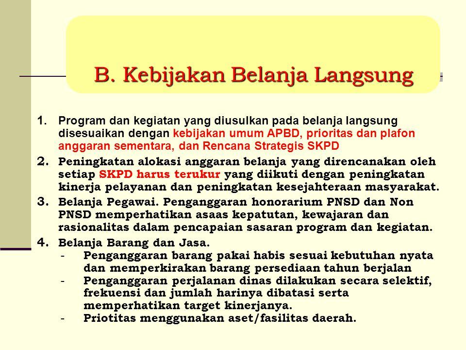 1. Program dan kegiatan yang diusulkan pada belanja langsung disesuaikan dengan kebijakan umum APBD, prioritas dan plafon anggaran sementara, dan Renc