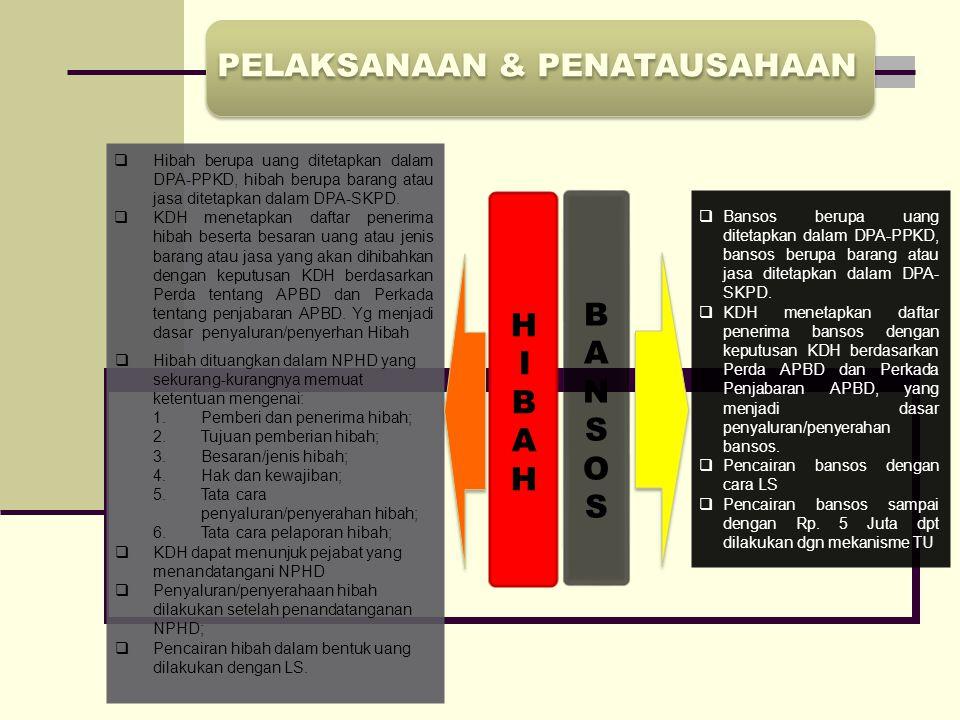 PELAKSANAAN & PENATAUSAHAAN  Hibah berupa uang ditetapkan dalam DPA-PPKD, hibah berupa barang atau jasa ditetapkan dalam DPA-SKPD.  KDH menetapkan d
