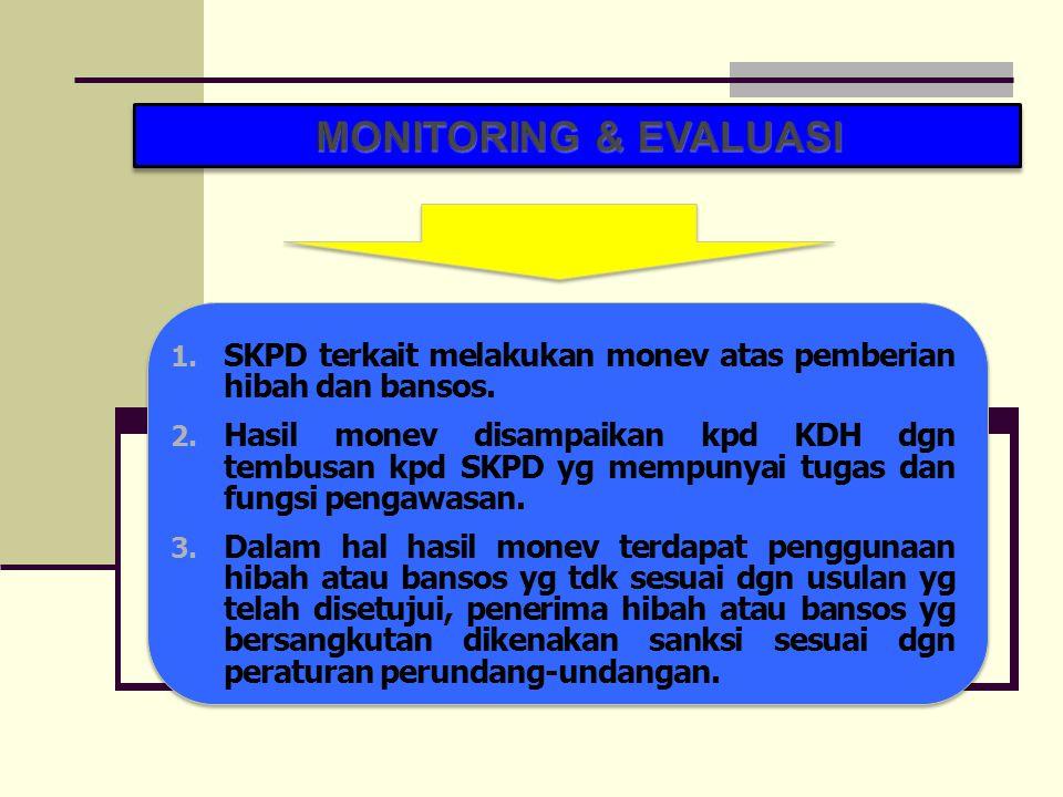 1. SKPD terkait melakukan monev atas pemberian hibah dan bansos. 2. Hasil monev disampaikan kpd KDH dgn tembusan kpd SKPD yg mempunyai tugas dan fungs