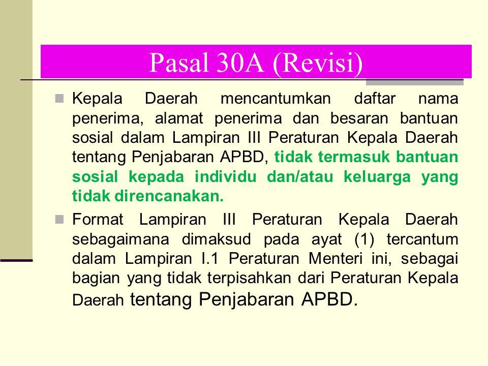 Pasal 30A (Revisi) Kepala Daerah mencantumkan daftar nama penerima, alamat penerima dan besaran bantuan sosial dalam Lampiran III Peraturan Kepala Dae