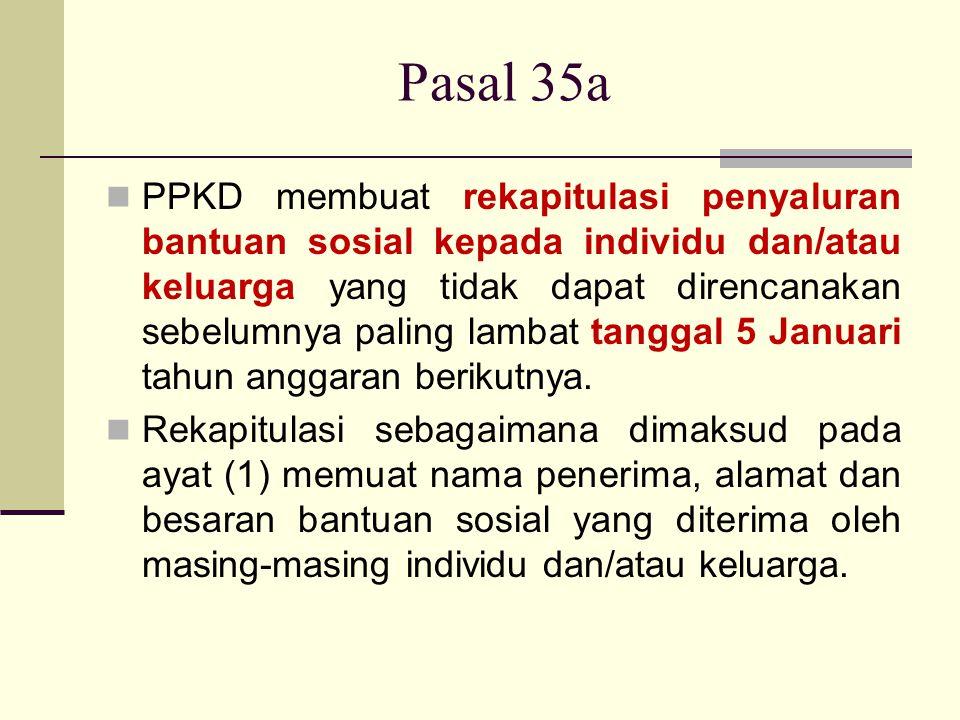 Pasal 35a PPKD membuat rekapitulasi penyaluran bantuan sosial kepada individu dan/atau keluarga yang tidak dapat direncanakan sebelumnya paling lambat