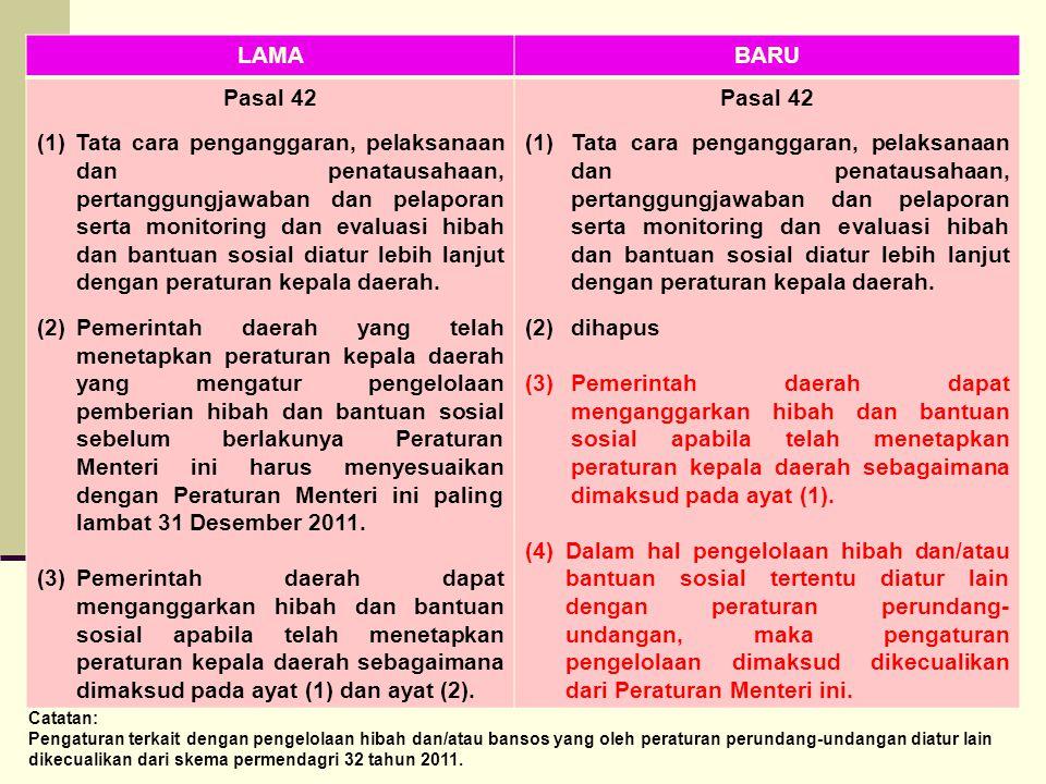 LAMABARU Pasal 42 (1) Tata cara penganggaran, pelaksanaan dan penatausahaan, pertanggungjawaban dan pelaporan serta monitoring dan evaluasi hibah dan