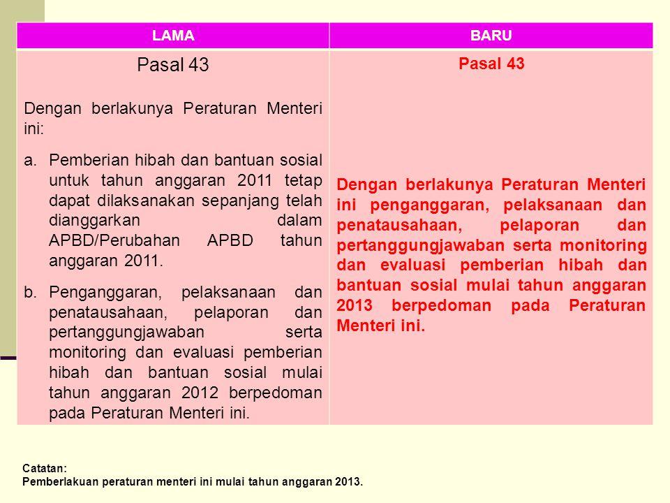 LAMABARU Pasal 43 Dengan berlakunya Peraturan Menteri ini: a.Pemberian hibah dan bantuan sosial untuk tahun anggaran 2011 tetap dapat dilaksanakan sep