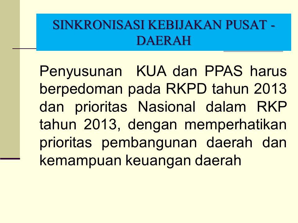 SINKRONISASI KEBIJAKAN PUSAT - DAERAH Penyusunan KUA dan PPAS harus berpedoman pada RKPD tahun 2013 dan prioritas Nasional dalam RKP tahun 2013, denga