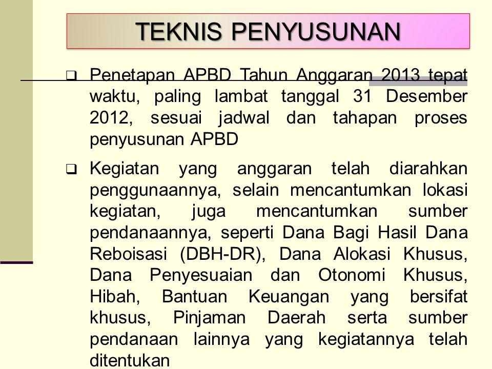 TEKNIS PENYUSUNAN  Penetapan APBD Tahun Anggaran 2013 tepat waktu, paling lambat tanggal 31 Desember 2012, sesuai jadwal dan tahapan proses penyusuna