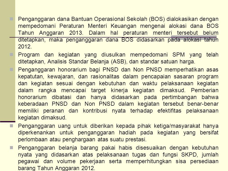 Penganggaran dana Bantuan Operasional Sekolah (BOS) dialokasikan dengan mempedomani Peraturan Menteri Keuangan mengenai alokasi dana BOS Tahun Anggara