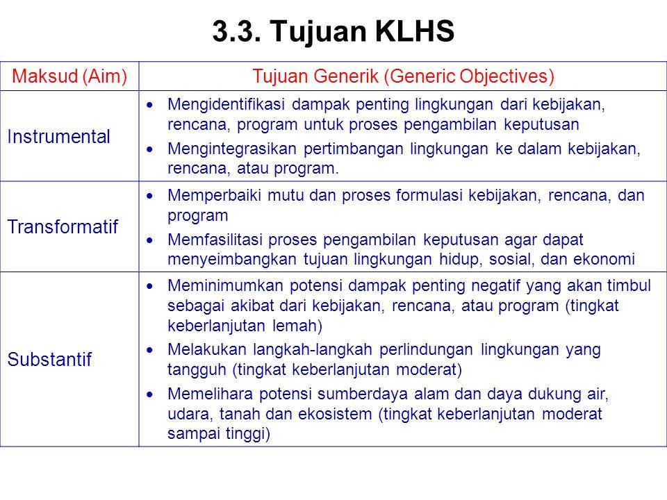 3.3. Tujuan KLHS Maksud (Aim)Tujuan Generik (Generic Objectives) Instrumental  Mengidentifikasi dampak penting lingkungan dari kebijakan, rencana, pr
