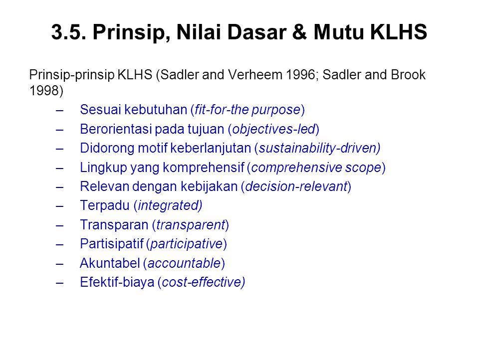 3.5. Prinsip, Nilai Dasar & Mutu KLHS Prinsip-prinsip KLHS (Sadler and Verheem 1996; Sadler and Brook 1998) –Sesuai kebutuhan (fit-for-the purpose) –B