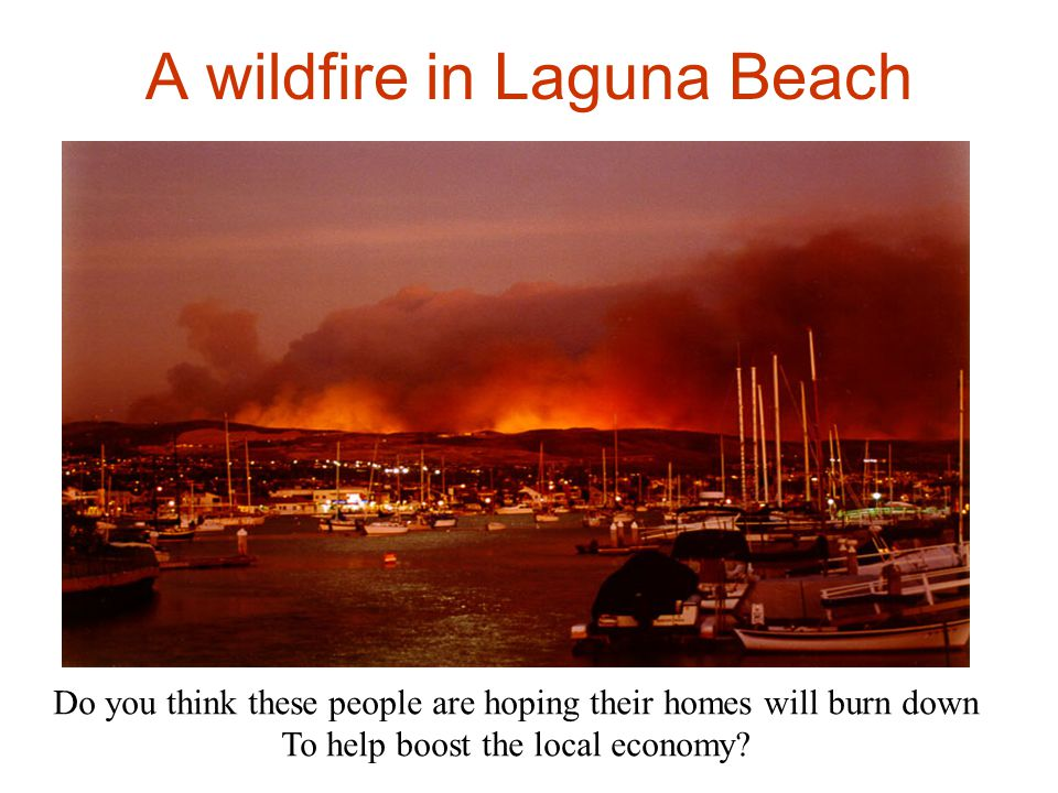 A wildfire in Laguna Beach Do you think these people are hoping their homes will burn down To help boost the local economy?