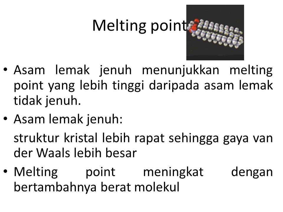 Melting point Asam lemak jenuh menunjukkan melting point yang lebih tinggi daripada asam lemak tidak jenuh. Asam lemak jenuh: struktur kristal lebih r