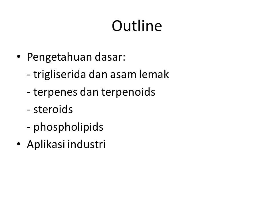Outline Pengetahuan dasar: - trigliserida dan asam lemak - terpenes dan terpenoids - steroids - phospholipids Aplikasi industri