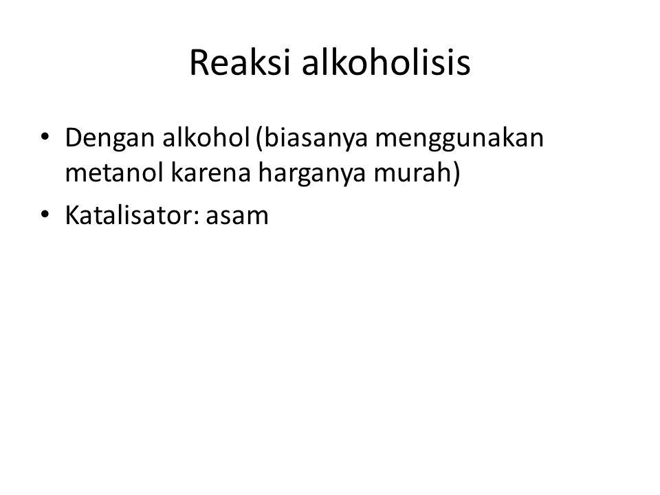 Reaksi alkoholisis Dengan alkohol (biasanya menggunakan metanol karena harganya murah) Katalisator: asam