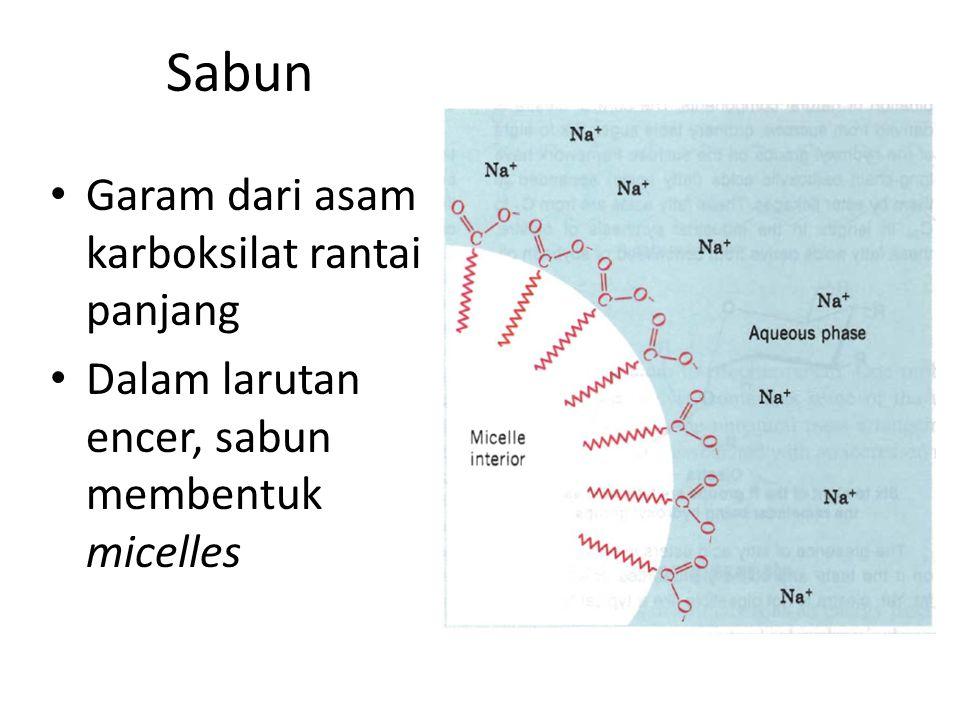 Sabun Garam dari asam karboksilat rantai panjang Dalam larutan encer, sabun membentuk micelles