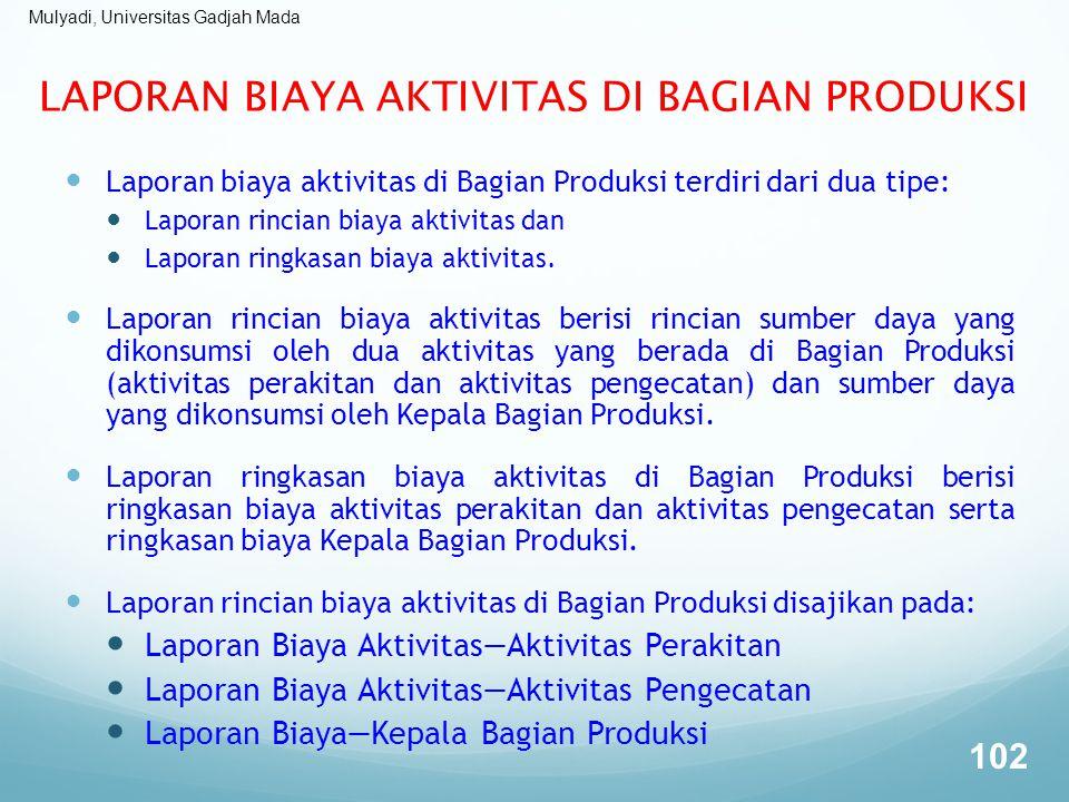 Mulyadi, Universitas Gadjah Mada LAPORAN BIAYA AKTIVITAS DI BAGIAN PRODUKSI Laporan biaya aktivitas di Bagian Produksi terdiri dari dua tipe: Laporan
