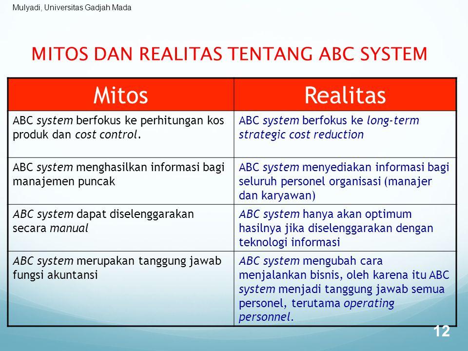 Mulyadi, Universitas Gadjah Mada MITOS DAN REALITAS TENTANG ABC SYSTEM MitosRealitas ABC system berfokus ke perhitungan kos produk dan cost control. A