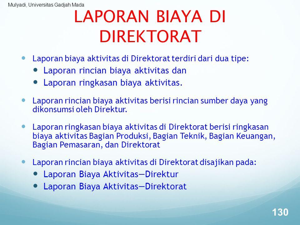Mulyadi, Universitas Gadjah Mada LAPORAN BIAYA DI DIREKTORAT Laporan biaya aktivitas di Direktorat terdiri dari dua tipe: Laporan rincian biaya aktivi