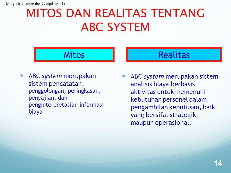 Mulyadi, Universitas Gadjah Mada MITOS DAN REALITAS TENTANG ABC SYSTEM ABC system merupakan sistem pencatatan, penggolongan, peringkasan, penyajian, d