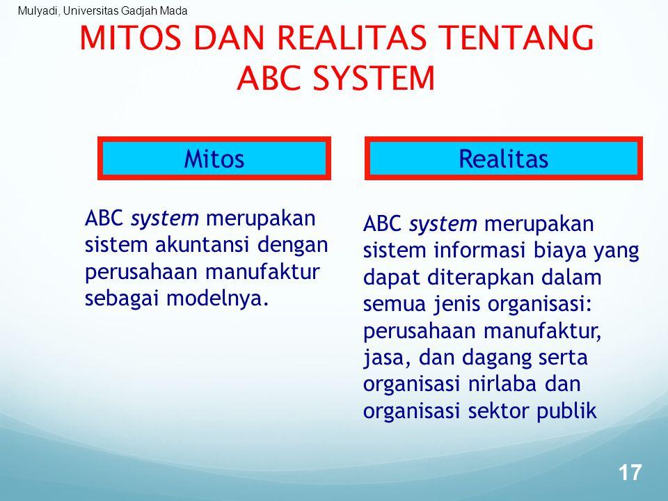Mulyadi, Universitas Gadjah Mada MITOS DAN REALITAS TENTANG ABC SYSTEM 17 MitosRealitas ABC system merupakan sistem akuntansi dengan perusahaan manufa